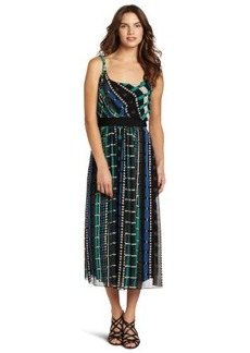 Jones New York Women's Geometric Stripe Chiffon Maxi Dress
