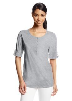 Jones New York Women's Half Roll-Cuff Sleeve Henley Shirt