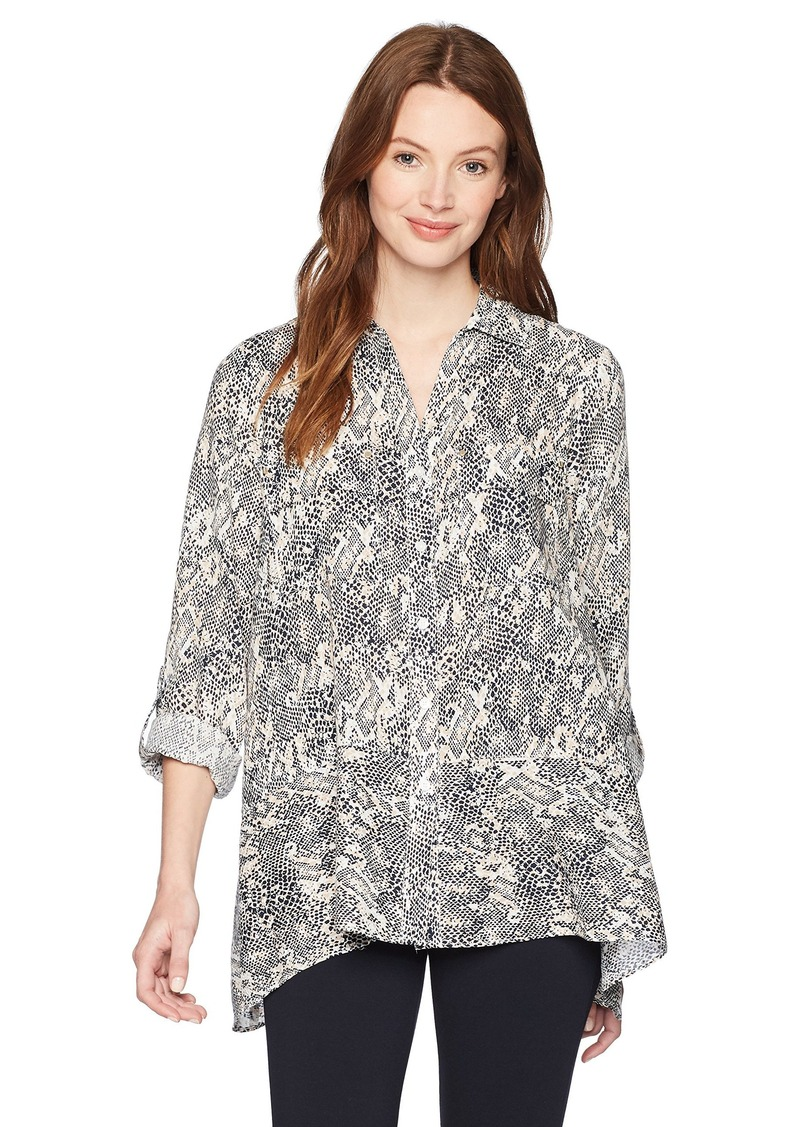 Jones New York Women's Handkerchief Hem Linen Shirt  M