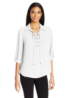 Jones New York Women's Hi Lo Hem Lace up Placket Top  XL
