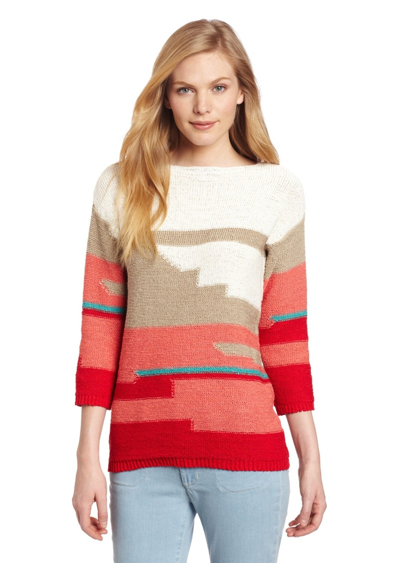 Jones New York Women's Intarsia Elbow Sleeve Scoop Neck Sweater