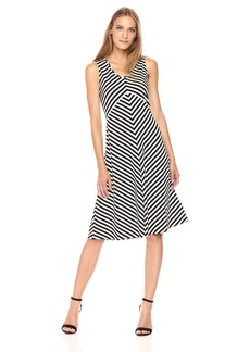 Jones New York Women's Island Stripe Slvless 'v'Nk Dress  M