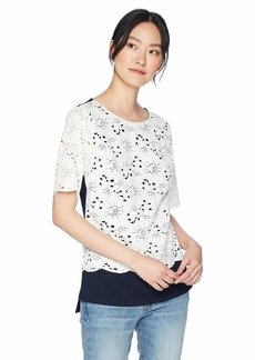 Jones New York Women's Lace Front Drop Shoulder Top  XL