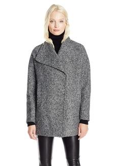 Jones New York Women's Ladies Short Wool Tweed Coat With Dramatic Collar