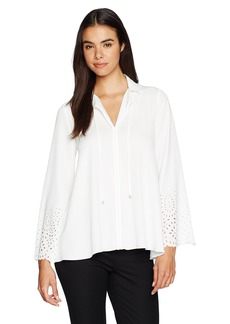 Jones New York Women's Laser Cut Eyelet Novelty Peasant Top  XS