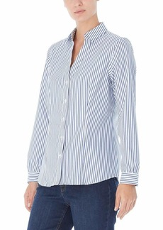 Jones New York Women's Long Sleeve Easy Care Stripe Blouse  M