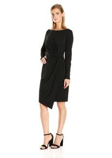 Jones New York Women's Long Sleeve Tucked Ponte Dress