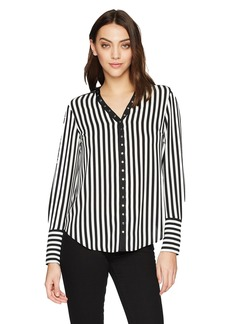 Jones New York Women's L/Slv Top With Snap Tape Trim Black/Ivory M