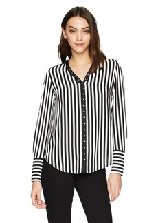 Jones New York Women's L/SLV Top with Snap Tape Trim Black/Ivory XS