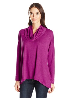 Jones New York Women's Marl Gauze Cowl Neck Drape Hem Top  L