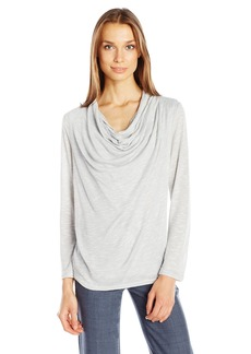 Jones New York Women's Marled Drape Front Pleated Shoulder Top