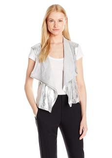 Jones New York Women's Metallic Faux Suede Drapey Vest  S