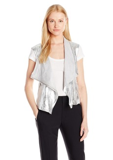 Jones New York Women's Metallic Faux Suede Drapey Vest  XS