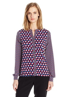 Jones New York Women's Mix Geo Print Mandarin Collar Knit Blouse  L