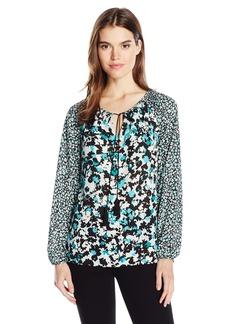 Jones New York Women's Mix Print Floral Peasant Top  XL