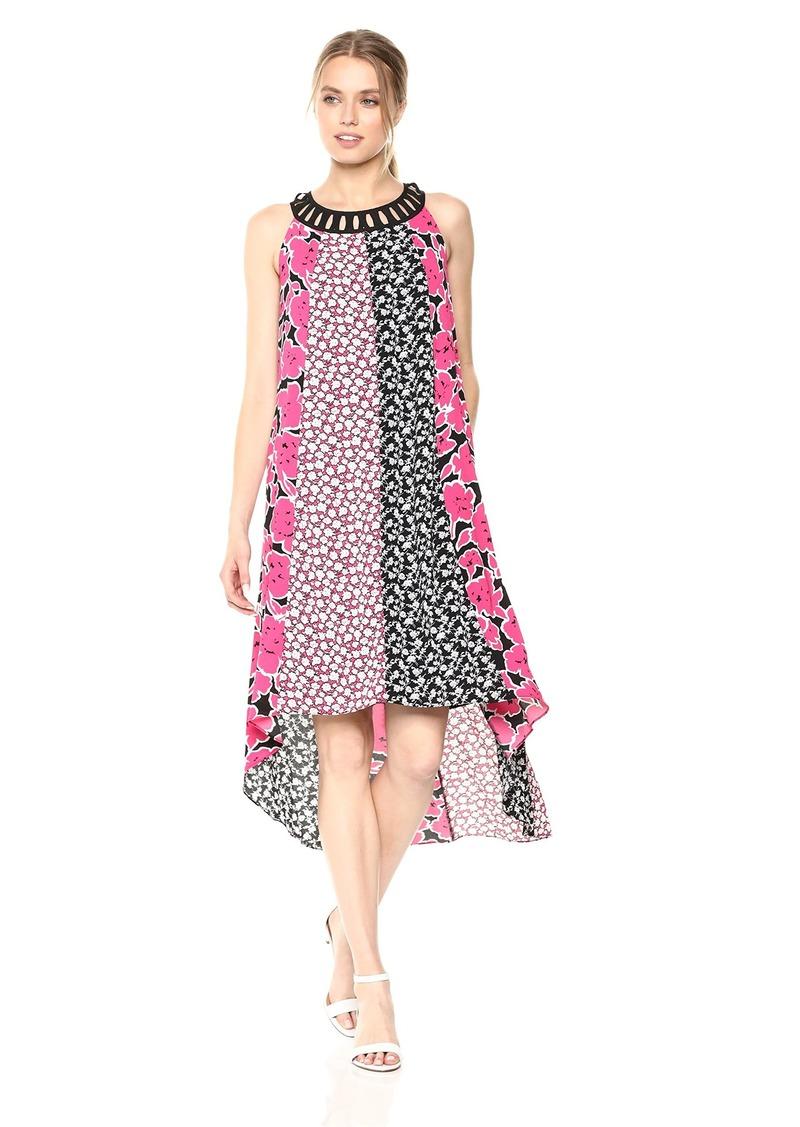 Jones New York Women's Mixed Print Hi Low Hem Dress  XS