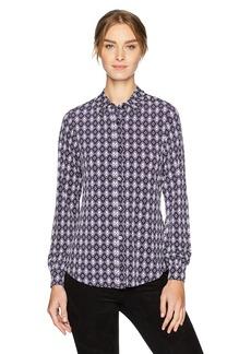 Jones New York Women's New Foulard Print BTN Front Shirt  L