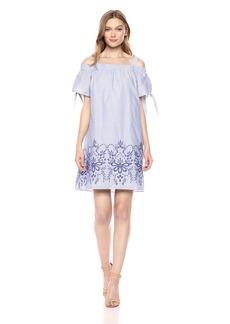 Jones New York Women's Off Shoulder Embroidery Stripe Dress Blue L