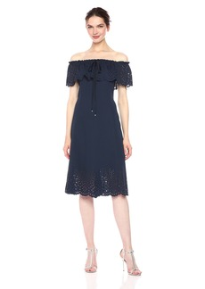 Jones New York Women's Off The Should Lazer Cut Out Fit and Flare