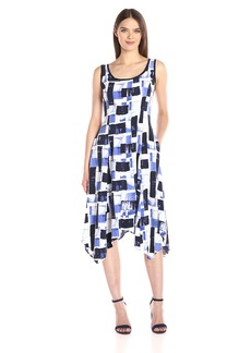 Jones New York Women's Painted Scroll Handkerchief Dress