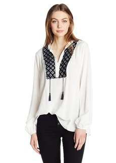 Jones New York Women's Peasant Top with Lace Detail  S