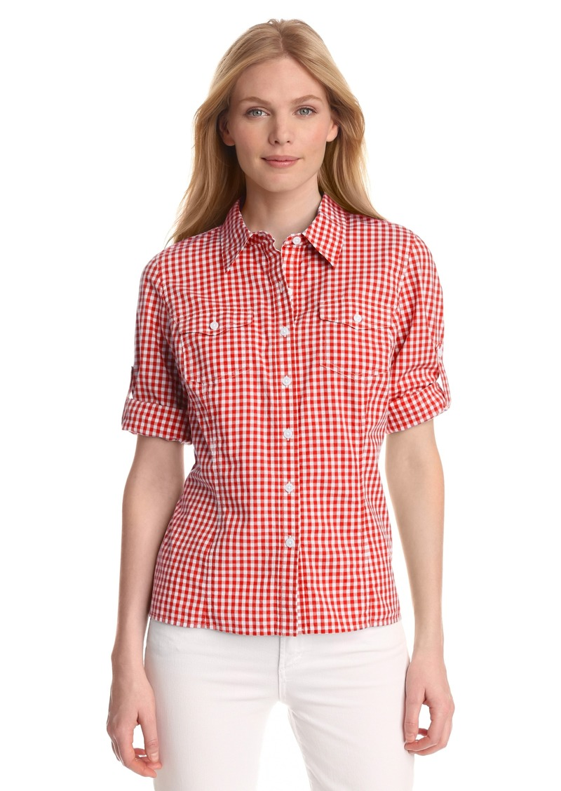 Jones New York Women's Petite Fitted Printed Roll Up Elbow Sleeve Shirt