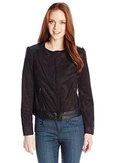 Jones New York Women's Petite Mixed Media Moto Jacket