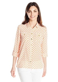 Jones New York Women's Petite Roll Sleeve Safari Style Shirt