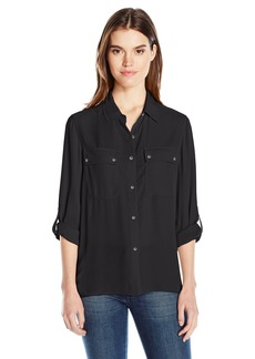 Jones New York Women's Pleated Back Button up with Rolled Sleeve  M