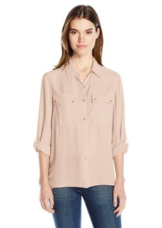 Jones New York Women's Pleated Back Button up With Rolled Sleeve  XL