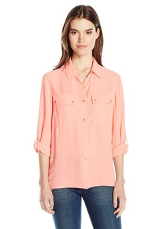 Jones New York Women's Pleated Back Button up With Rolled Sleeve  S