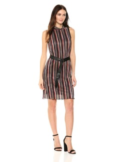 Jones New York Women's Pleated Multi Stripe Dress With Belt