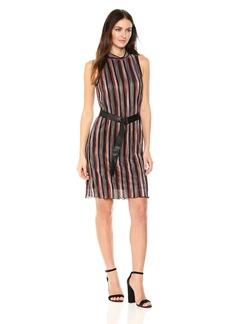 Jones New York Women's Pleated Multi Stripe Dress with Belt