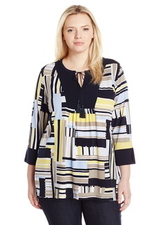 Jones New York Women's Plus Size allover Stripe 3/4 Slv Tunic
