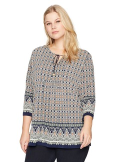 Jones New York Women's Plus Size Border Print 3/4 Sleeve Tunic