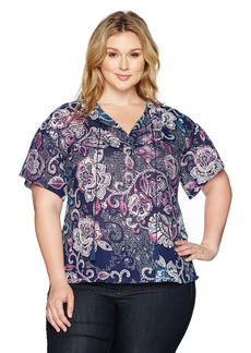 Jones New York Women's Plus Size Bouquet Dream Prt Fltr Slv Peasant Top