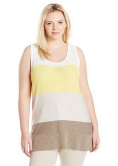 Jones New York Women's Plus Size Color Blocked Sweater Tank