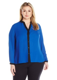 Jones New York Women's Plus Size Colorblock Pleat Back Top