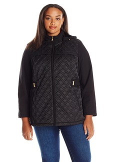 679bfb363d9 Jones New York Women s Plus Size Diamond Quilted Soft Shell Jacket with  Detachable Hood