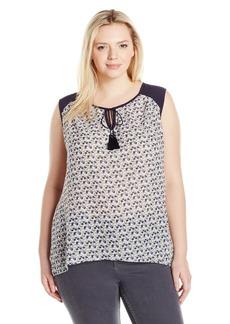 Jones New York Women's Plus Size Ditsy Print Slvlss Babydoll Top