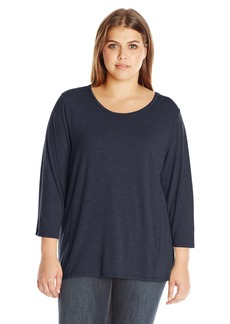Jones New York Women's Plus Size Easy Fit Drape Back Scoop Neck