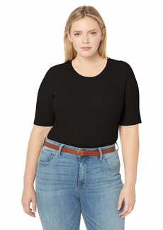 Jones New York Women's Plus Size Elbow SLV Crew Nk W/Mixed Ribs