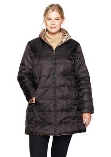 Jones New York Women's Plus Size Faux Fur Reversible to Down Coat