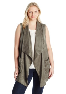Jones New York Women's Plus Size Faux Suede Draped Collar Vest