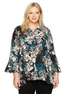 Jones New York Women's Plus Size Flounce Longsleeve Top with Front Button Placket
