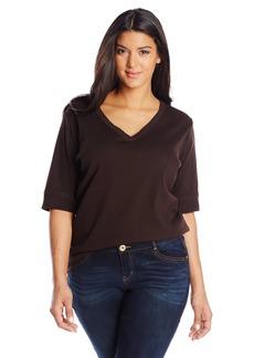 Jones New York Women's Plus Size Half Sleeve V Neck Top