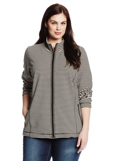 Jones New York Women's Plus-Size Long Sleeve Zip Front Top with Center V-Stitch