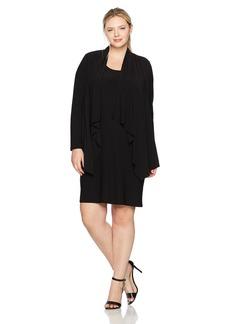 Jones New York Women's Plus Size LS Cascade Mock Cardigan