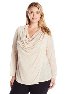 Jones New York Women's Plus Size Marled Drape Front Pleated Shoulder Top