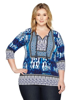 Jones New York Women's Plus Size Moroccan Ikat PRT 3/4 SLV Tunic